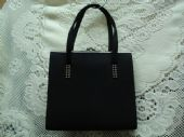 1960's Black Crepe Handbag with Diamante Trim (SOLD)